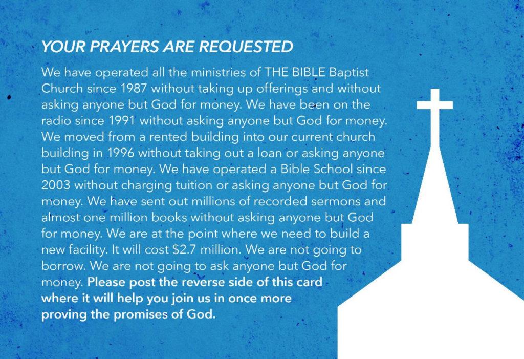 Building Fund Prayer Card